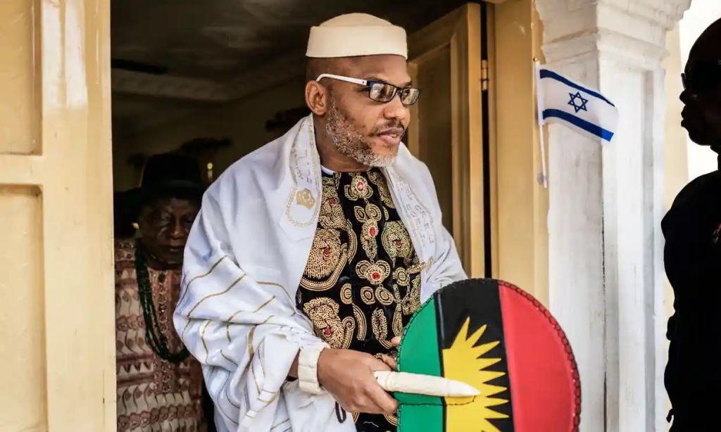Nnamdi Kanu wearing a Jewish prayer shawl as he left his house in Umuahia, south-east Nigeria, to meet veterans of the Nigerian civil war, in May 2017.